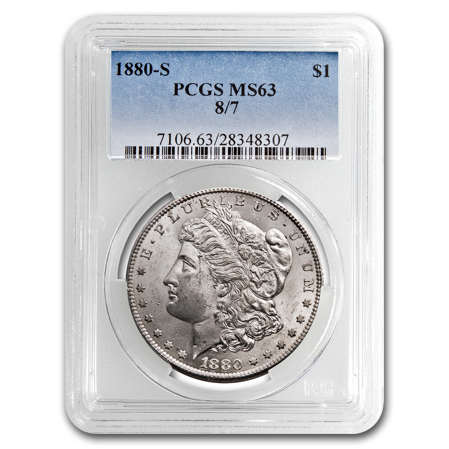 1880-S 8/7 Morgan Dollar MS-63 PCGS (Top-100)
